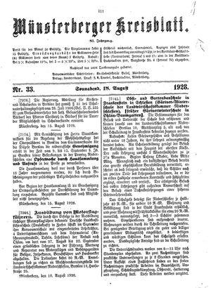 Münsterberger Kreisblatt vom 18.08.1928