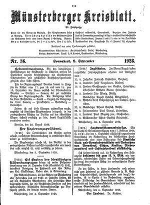 Münsterberger Kreisblatt vom 08.09.1928