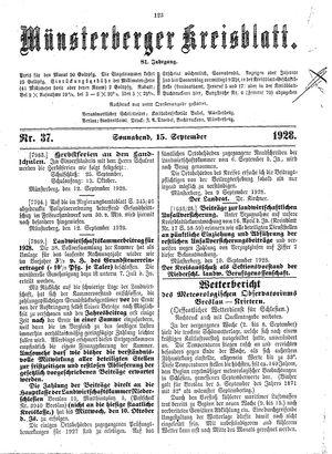 Münsterberger Kreisblatt vom 15.09.1928