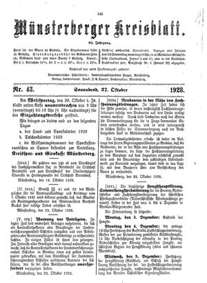 Münsterberger Kreisblatt vom 27.10.1928