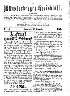 Münsterberger Kreisblatt vom 10.11.1928
