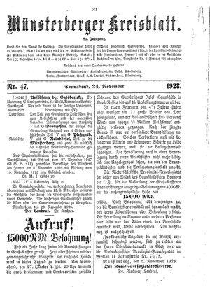 Münsterberger Kreisblatt vom 24.11.1928