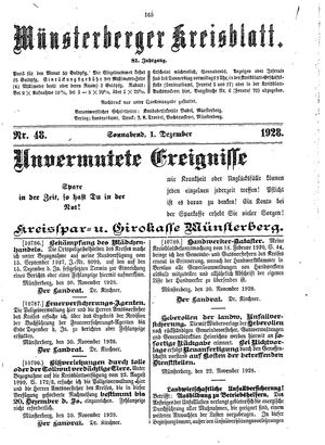 Münsterberger Kreisblatt vom 01.12.1928