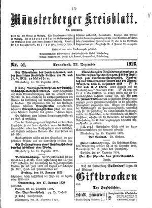 Münsterberger Kreisblatt vom 22.12.1928