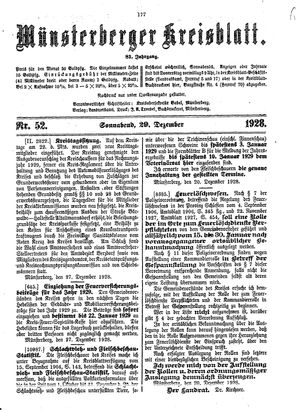 Münsterberger Kreisblatt vom 29.12.1928