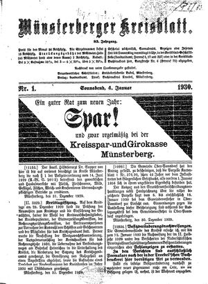 Münsterberger Kreisblatt vom 04.01.1930