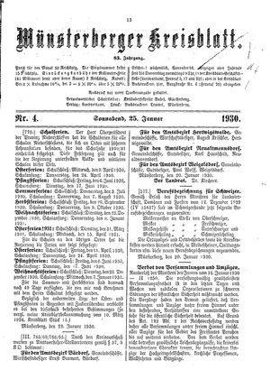 Münsterberger Kreisblatt vom 25.01.1930