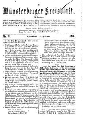 Münsterberger Kreisblatt vom 22.02.1930