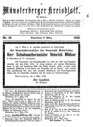 Münsterberger Kreisblatt vom 08.03.1930