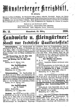 Münsterberger Kreisblatt vom 15.03.1930