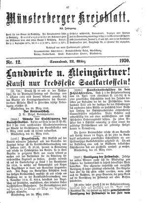Münsterberger Kreisblatt vom 22.03.1930