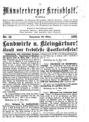 Münsterberger Kreisblatt vom 29.03.1930