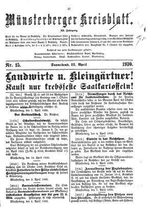 Münsterberger Kreisblatt vom 12.04.1930