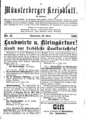 Münsterberger Kreisblatt vom 26.04.1930