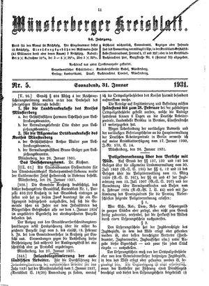 Münsterberger Kreisblatt vom 31.01.1931