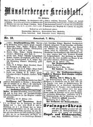 Münsterberger Kreisblatt vom 07.03.1931