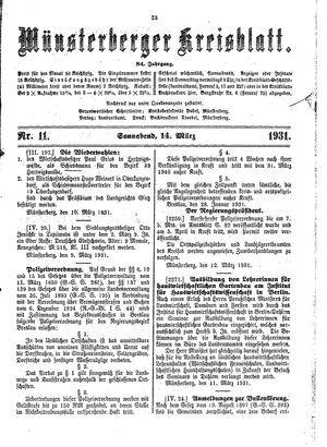 Münsterberger Kreisblatt vom 14.03.1931
