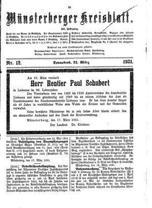 Münsterberger Kreisblatt vom 21.03.1931