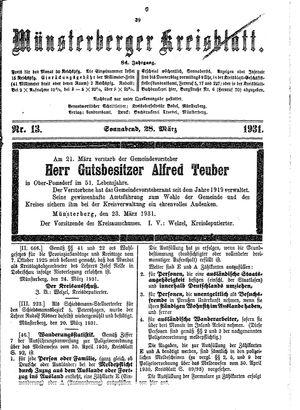 Münsterberger Kreisblatt vom 28.03.1931