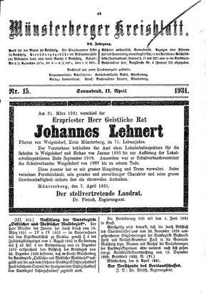 Münsterberger Kreisblatt vom 11.04.1931