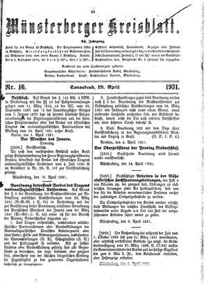 Münsterberger Kreisblatt vom 18.04.1931