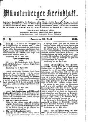 Münsterberger Kreisblatt vom 25.04.1931