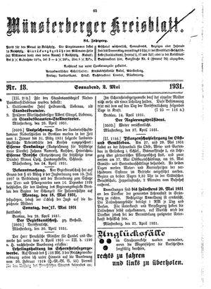 Münsterberger Kreisblatt vom 02.05.1931