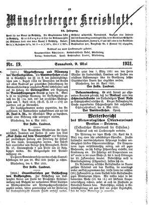 Münsterberger Kreisblatt vom 09.05.1931