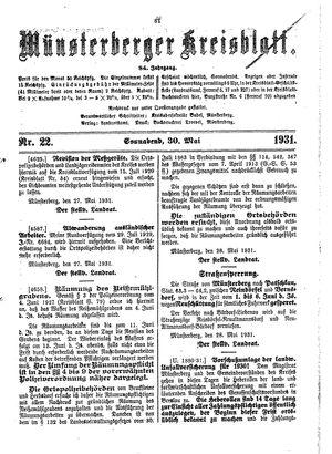 Münsterberger Kreisblatt vom 30.05.1931