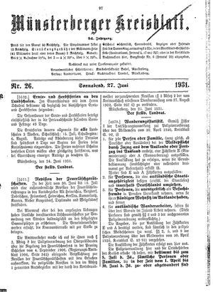 Münsterberger Kreisblatt vom 27.06.1931