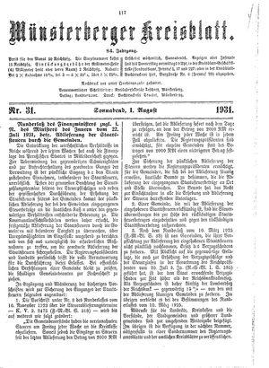 Münsterberger Kreisblatt vom 01.08.1931