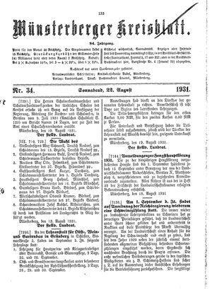 Münsterberger Kreisblatt vom 22.08.1931