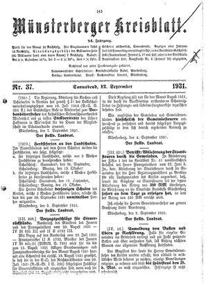 Münsterberger Kreisblatt vom 12.09.1931
