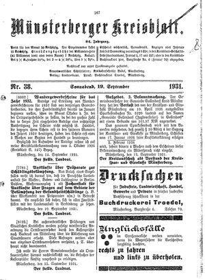 Münsterberger Kreisblatt vom 19.09.1931