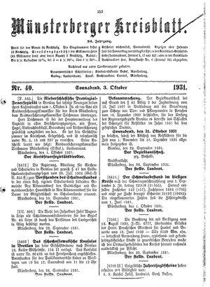 Münsterberger Kreisblatt vom 03.10.1931