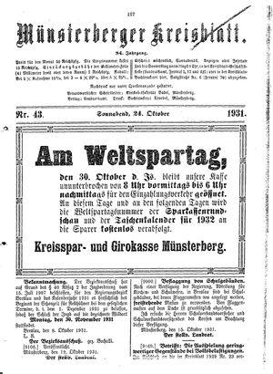 Münsterberger Kreisblatt vom 24.10.1931
