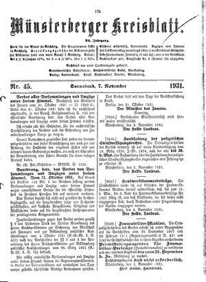 Münsterberger Kreisblatt vom 07.11.1931
