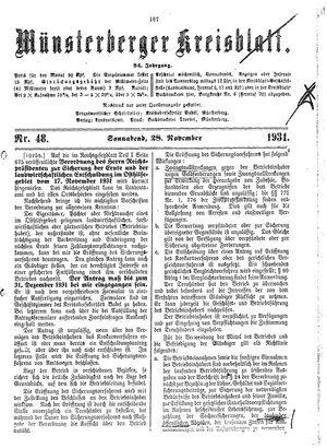 Münsterberger Kreisblatt vom 28.11.1931