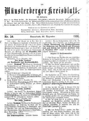 Münsterberger Kreisblatt vom 12.12.1931