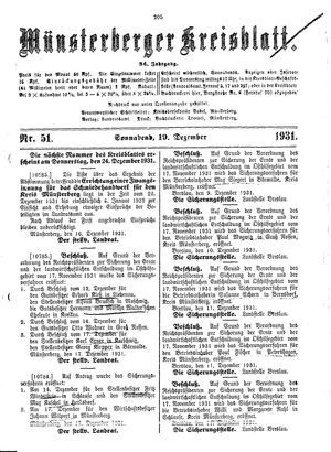 Münsterberger Kreisblatt vom 19.12.1931