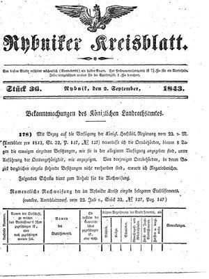 Rybniker Kreisblatt vom 02.09.1843