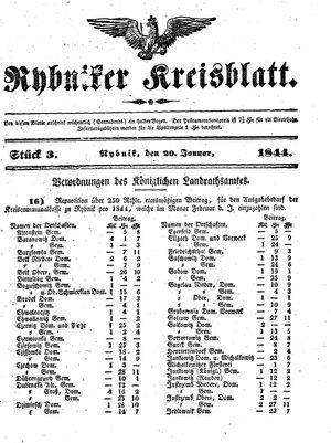 Rybniker Kreisblatt vom 20.01.1844