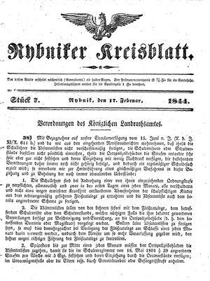 Rybniker Kreisblatt vom 17.02.1844