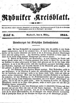 Rybniker Kreisblatt vom 02.03.1844