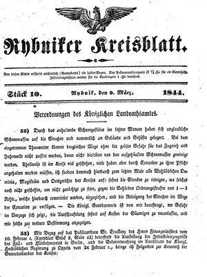 Rybniker Kreisblatt vom 09.03.1844