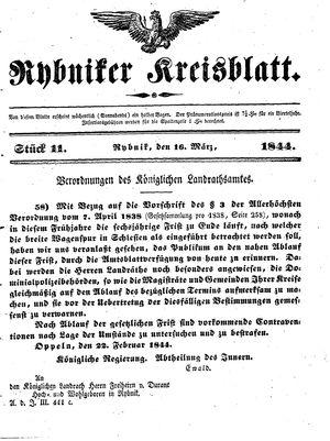 Rybniker Kreisblatt vom 16.03.1844