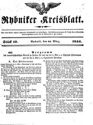 Rybniker Kreisblatt vom 23.03.1844