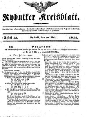 Rybniker Kreisblatt vom 30.03.1844