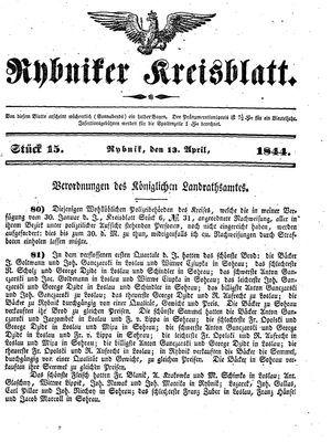 Rybniker Kreisblatt vom 13.04.1844