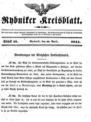 Rybniker Kreisblatt vom 20.04.1844